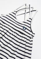 POP CANDY - Striped dress - navy & white
