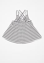 POP CANDY - Striped dress - navy & white