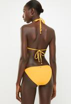 Sissy Boy - Ribbed tanga bikini bottom with mesh inlay - yellow