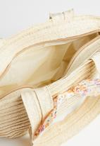 POP CANDY - Straw tote bag with bow detail - beige