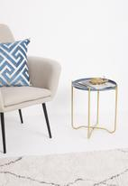 Sixth Floor - Tray side table - blue & gold