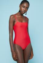 Superbalist - Square neck one piece - red