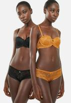 Sissy Boy - 2 Pack allover lace Brazilian brief - yellow & black