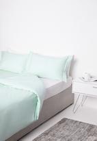 Sixth Floor - Pleat cotton duvet set - duck egg