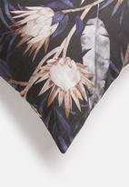 Grey Gardens - Midnight protea cushion cover - black