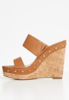 ALDO - Leather studded wedge mule - brown