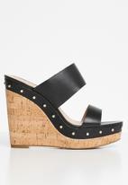 ALDO - Leather studded wedge mule - black