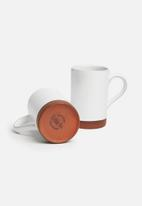 Urchin Art - Element mug set of 2 - white & terra