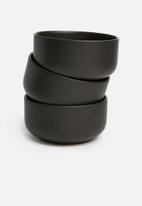 Urchin Art - Kari snack bowl set of 3 - matte black