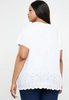 New Look - Broderie round neck - white