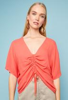 Superbalist - Drawcord shell blouse - coral