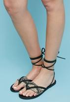 Superbalist - Sery leather ankle tie sandal - black & brown