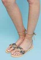 Superbalist - Sery leather ankle tie sandal - beige & brown