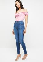 Missguided - Milkmaid bardot tie-front bodysuit - pink