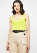 Missguided - Square neck cotton sleeveless bodysuit - yellow