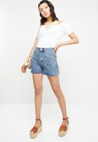Missguided - Bardot frill edge cupped bodysuit - white