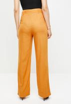 Missguided - Linen self belted wide leg trouser - orange