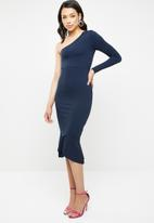 Missguided - One shoulder fishtail bodycon midi dress - navy