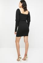 Missguided - Square neck balloon sleeve mini dress - black