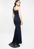 Missguided - One shoulder lace maxi dress - navy