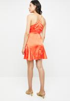 Missguided - Halter neck flippy hem dress - orange