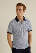 MANGO - Tropy polo - white & navy