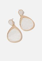 Cotton On - Selma classic earring - white & gold