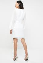 Missguided - Milkmaid button down dress - white