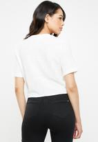 Missguided - Tie front short sleeve shirt - cream