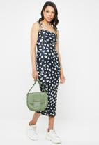 Missguided - Floral cami tie sleeve midi dress - navy