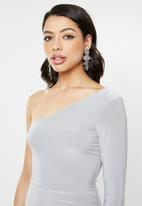 Missguided - Slinky one shoulder ruched drape bodycon dress - sliver
