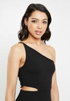 Missguided - One shoulder asymmetric jumpsuit - black