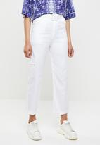 Missguided - Self fabric belt detail cargo trouser - white