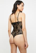 Missguided - Lace strappy bodysuit - black