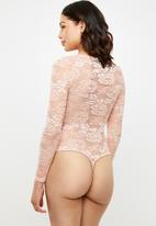 Missguided - Cupped lace satin insert bodysuit - pink
