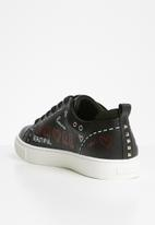 ALDO - Zaunna  graffiti lace-up flatform sneaker - black