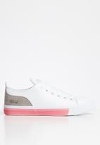 Miss Black - Rhodes lace-up flatform sneaker - white & pink