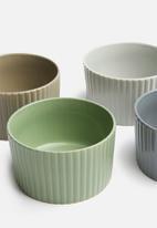 Excellent Housewares - Deep stoneware bowls set of 4 - multi
