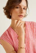 MANGO - Linen-blend long dress - red & white