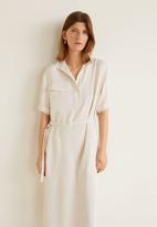 MANGO - Midi shirt dress with pocket detail - neutral