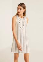 MANGO - Striped dress - beige & cream