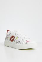 ALDO - Graffiti lace-up flatform sneaker - white