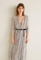 MANGO - Snake printed crossover midi dress - grey