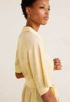 MANGO - Tie belt midi shirt dress - yellow