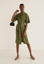 MANGO - Tie belt midi shirt dress - khaki