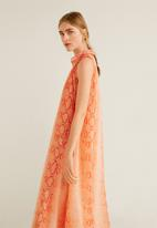 MANGO - Snake print long dress - orange