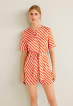 MANGO - Striped bow jumpsuit - orange & white