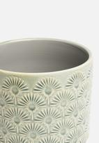 Sixth Floor - Embossed planter - green