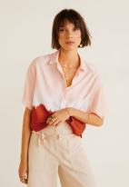 MANGO - Tie-dye cropped shirt - coral & red