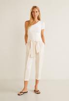 MANGO - Tie waist crop trouser - cream